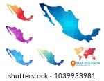 mexico map   set of geometric... | Shutterstock .eps vector #1039933981