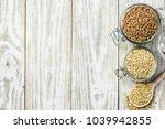 brown and green buckwheat in... | Shutterstock . vector #1039942855