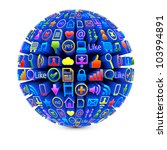 ball with social media icons... | Shutterstock .eps vector #103994891