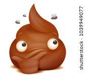 thoughtful emoji poo cartoon... | Shutterstock .eps vector #1039949077