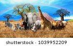 african savannah on the... | Shutterstock . vector #1039952209