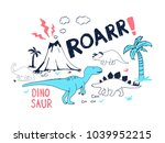 dinosaur and wildlife hand... | Shutterstock .eps vector #1039952215