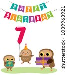 cute anniversary card with owls.... | Shutterstock .eps vector #1039963921