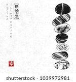 pebble zen stones balance on... | Shutterstock .eps vector #1039972981