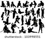 children play  silhouettes | Shutterstock .eps vector #103998551