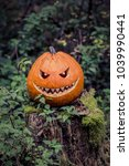 Small photo of Halloween pumpkin with fiendish smile on scary trunk in forest. The orange selfmade halloween symbol is sitting between green autumn nature. Mystery scene on ocober 31st