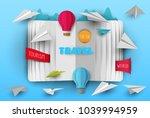 3d vector paper cut open book... | Shutterstock .eps vector #1039994959