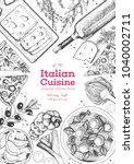 italian cuisine top view frame. ... | Shutterstock .eps vector #1040002711