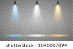 Set of colored searchlights on a transparent background. Bright lighting with spotlights. The searchlight is white, blue, yellow.