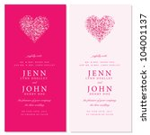 vector heart invitation frames. ... | Shutterstock .eps vector #104001137
