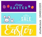 happy easter set of banners... | Shutterstock .eps vector #1040013205