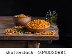 sea buckthorn in the plate and...   Shutterstock . vector #1040020681