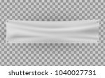 white textile banner with folds.... | Shutterstock .eps vector #1040027731