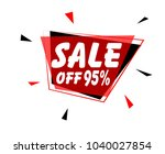 sale off 95   sign with red... | Shutterstock .eps vector #1040027854