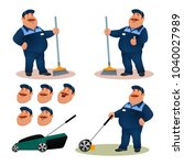 funny cartoon janitor set with... | Shutterstock .eps vector #1040027989