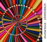 colorful rainbow sharpen... | Shutterstock . vector #1040028625