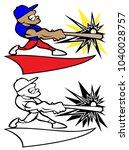 baseball player swinging bat...   Shutterstock .eps vector #1040028757