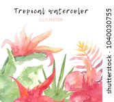 tropical watercolor nanner with ... | Shutterstock . vector #1040030755