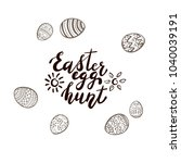 black easter lettering with sun ... | Shutterstock .eps vector #1040039191