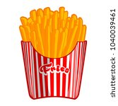 french fries in classic striped ... | Shutterstock .eps vector #1040039461