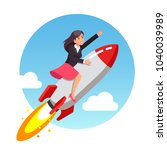 businessgirl on a rocket in a red dress flies to success. Flat style vector illustration clipart.