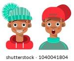 boys  teenagers in caps  funny... | Shutterstock .eps vector #1040041804