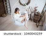 girl relaxing and reading book... | Shutterstock . vector #1040043259