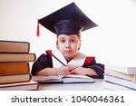 exhausted child girl student... | Shutterstock . vector #1040046361
