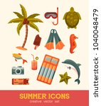 summer and sea elements... | Shutterstock .eps vector #1040048479