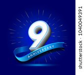 9th anniversary with ribbon  ... | Shutterstock .eps vector #1040049391