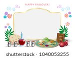 happy passover holiday greeting ... | Shutterstock .eps vector #1040053255