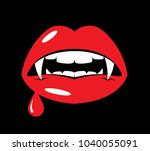 vampire lips with fangs | Shutterstock .eps vector #1040055091