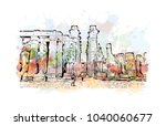 luxor temple is a large ancient ... | Shutterstock .eps vector #1040060677