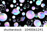 holographic bubbles on black....   Shutterstock . vector #1040061241