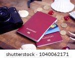 passport  credit card prepared...   Shutterstock . vector #1040062171