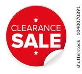 clearance sale label red sticker | Shutterstock .eps vector #1040070391