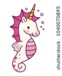 cute unicorn sea horse vector... | Shutterstock .eps vector #1040070895