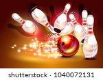 bowling game strike over dark... | Shutterstock .eps vector #1040072131