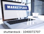 marketplace text on modern... | Shutterstock . vector #1040072707