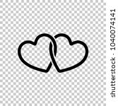 linked hearts icon. on...   Shutterstock .eps vector #1040074141