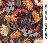 vector pattern with flowers and ...   Shutterstock .eps vector #1040080981