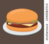 delicious burger on a plate... | Shutterstock .eps vector #1040082514