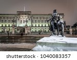 buckingham palace in snow night ... | Shutterstock . vector #1040083357