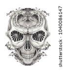 art surreal skull. hand pencil...   Shutterstock . vector #1040086147
