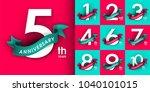 set of anniversary emblems  ... | Shutterstock .eps vector #1040101015