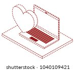 computer laptop with heart... | Shutterstock .eps vector #1040109421
