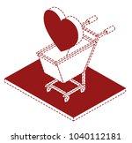 shopping cart with heart... | Shutterstock .eps vector #1040112181