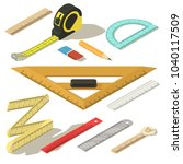 ruler measure pencil icons set. ... | Shutterstock .eps vector #1040117509