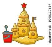 sand castle icon. cartoon... | Shutterstock .eps vector #1040117659