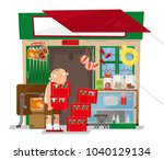 vector illustration of a old... | Shutterstock .eps vector #1040129134